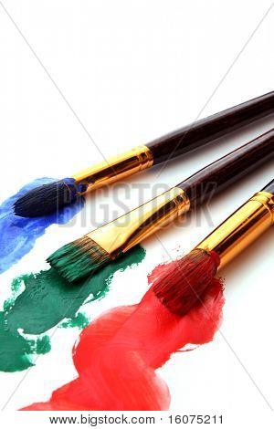 paint brushes in color paint