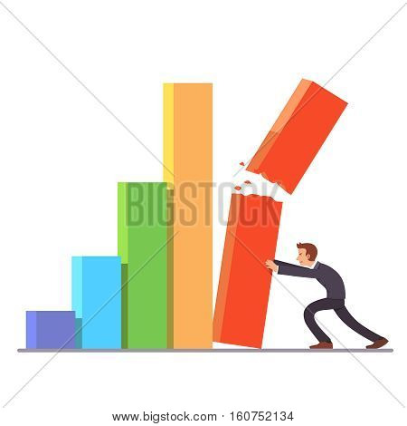 Failing growth crisis concept. Businessman trying to hold down falling and breaking bar chart column. Sales and stock market decline. metaphor. Flat style vector illustration clipart.