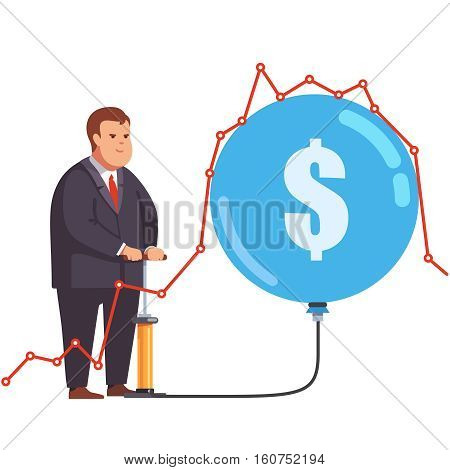 Big fat and greedy corporation business man pumping up a stock market bubble under a line chart graph. Market manipulation and fraud concept. Flat style vector illustration clipart.