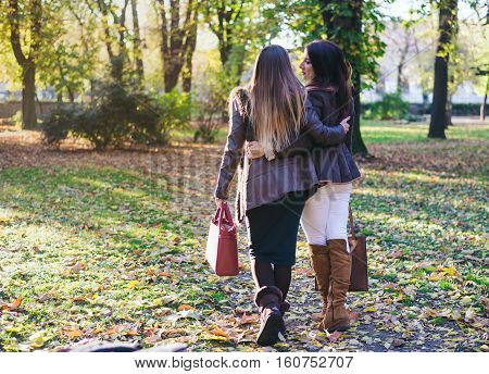 Two happy trendy young women strolling arm in arm through an autumn or fall park carrying fashionable handbags rear view walking away from camera