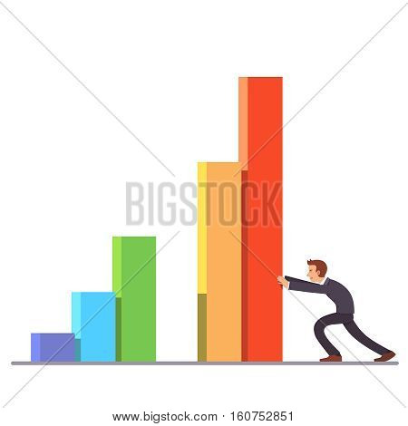 Businessman moving colorful bar graph columns achieving business sales growth. Flat style vector illustration clipart.