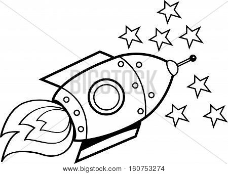 Black and white illustration of a spaceship.