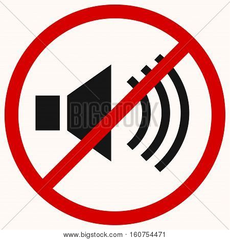 No sound sign. Red prohibition vector symbol. You can simply change color and size