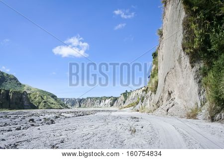 crow valley river bed used by 4x4 vehciles to access mt pinatubo volcano in pampanga in the philippines