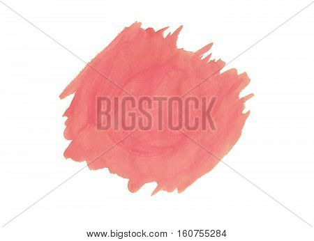 Pink Watercolor Watercolor Stain Isolated On White Background.