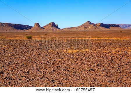 Beautiful Moroccan Landscape, Sahara Desert, Stones Against The Sky
