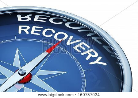 3D rendering of a compass with a recovery icon