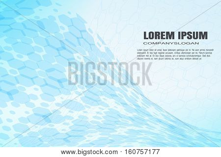 Vector abstract blue background with hexagon shapes different opacity and various silhouettes.