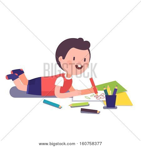 Happy smiling kid painting and coloring with his crayons lying on a floor. Modern flat style vector illustration cartoon clipart.