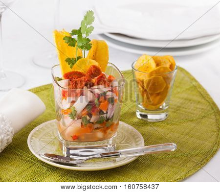 Ceviche typical dish from Central and South America with sea urchin