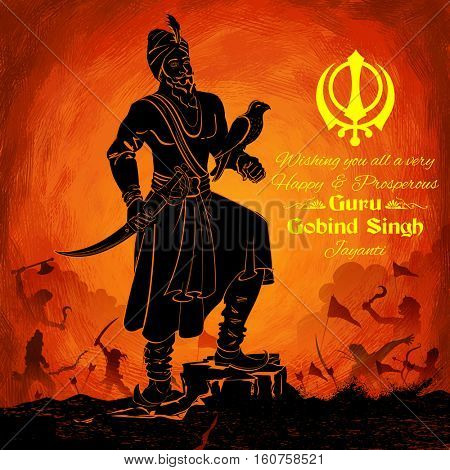 illustration of Happy Guru Gobind Singh Jayanti festival for Sikh celebration background