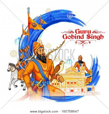 Happy Guru Gobind Singh Jayanti festival for Sikh celebration background with Punjabi text Waheguru ji ka khalsa Waheguruji ki fateh meaning Wonderful Lord's Khalsa, Victory is to the Wonderful Lord