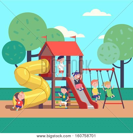 Group of kids playing game on a town public park playground with swings, slides, tube and house. Happy childhood. Modern flat style vector illustration cartoon clipart.
