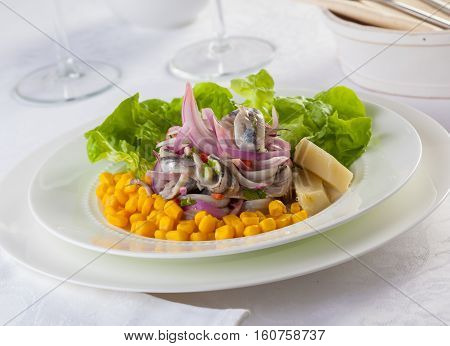 Anchovy ceviche typical dish from Central and South America