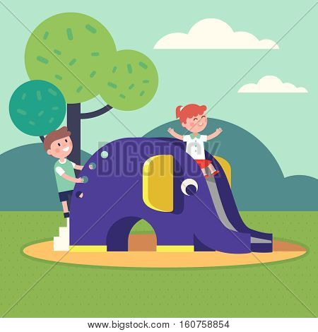 Kids, boy and girl playing on an elephant shaped slide playground. Outdoor public park. Modern flat style vector illustration cartoon clipart.