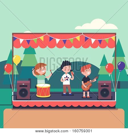 Kids music band playing and rocking at town public park festival. Modern flat style vector illustration cartoon clipart.