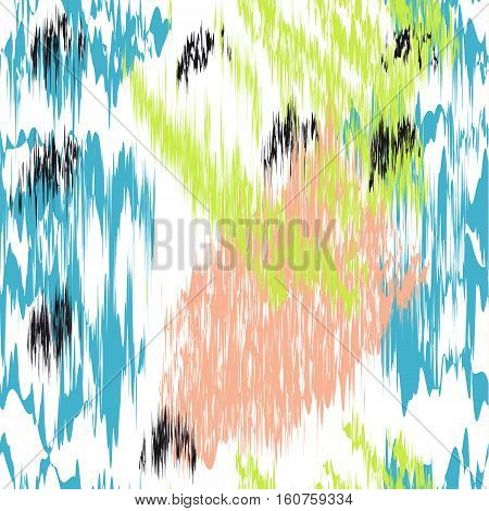 Vector abstract Seamless pattern with colorful vibrations.  White background.