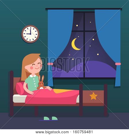 Girl kid preparing to sleep bedtime in her bedroom bed. Good night time. Modern flat style vector illustration cartoon clipart.
