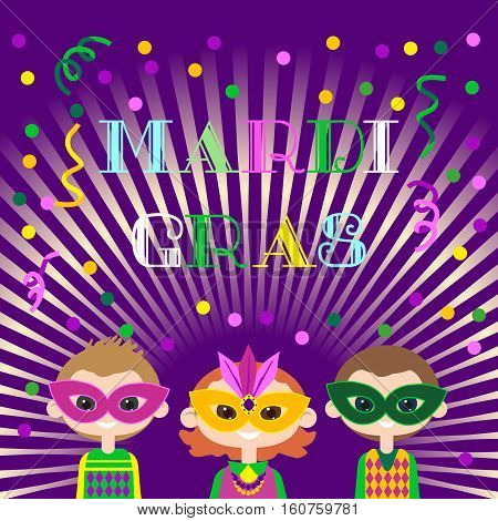 Mardi Gras celebration. Freehand cartoon fancy letters. Masquerade street parade traditional symbols. Kids mask costumes for traditional holiday carnival. Vector headline decoration banner background