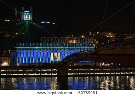 Lyon, France, December 8, 2016 : Lights On Court Law And Basilica. The Festival Of Lights Expresses