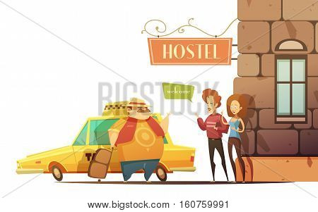 Hostel design concept in cartoon style with managers welcoming tourist coming out of car on corner of building flat vector illustration