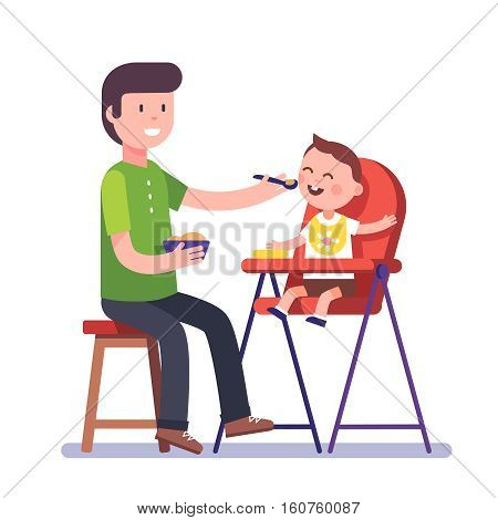 Father feeding his baby son sitting on kids eating chair. Holding hands with spoon going to mouth. Modern flat style vector illustration cartoon clipart.