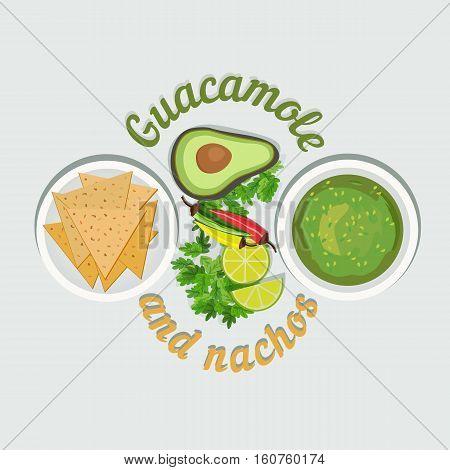 Mexican food. Freehand cartoon cuisine retro style concept. Traditional meal menu icon. Lime, cilantro, avocado, guacamole sauce, nachos. Design idea of restaurant menu background. Vector Illustration