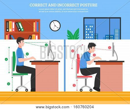 Young man demonstrating correct and incorrect sitting postures for healthy spine while working on computer flat vector illustration
