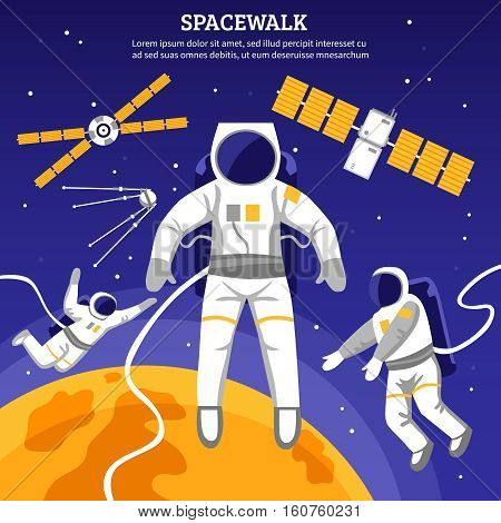 Satellites and three astronauts having spacewalk flat vector illustration