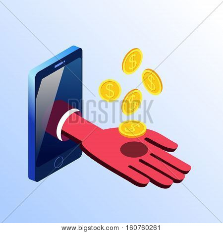 Isometric vector smartphone showing hand with golden coins. 3d stock illustration