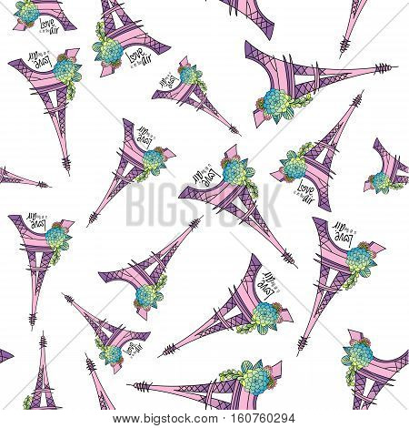 Wrapping paper or background abstract effel tower and floral seamless pattern.