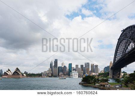 The Sydney Harbour Bridge with City Skyline in Sydney, Australia