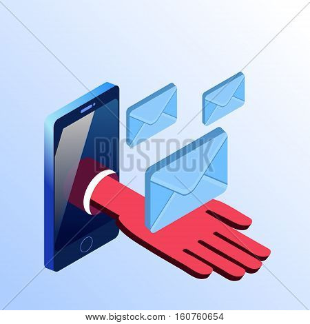 Isometric vector smartphone showing hand with mail envelopes. 3d stock illustration