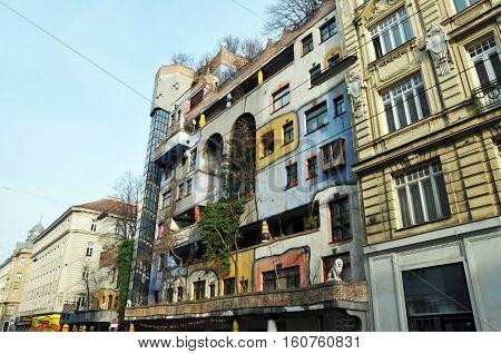 VIENNA AUSTRIA - 12.03.2016: Hundertwasser house landmark architecture