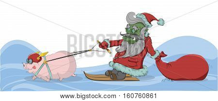 Pig pulls goblin - Santa Claus in the snow. Vector illustration.