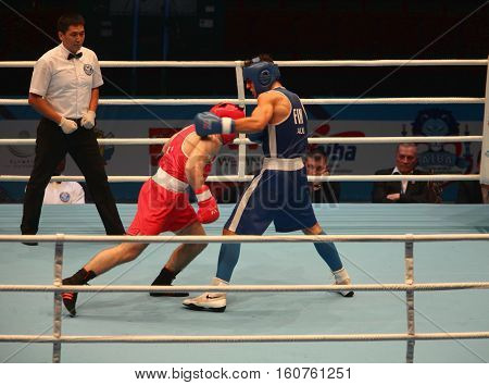 St. Petersburg Russia November 21 2016 AIBA Youth World Boxing Championship boxing uppercut strong hit bottom