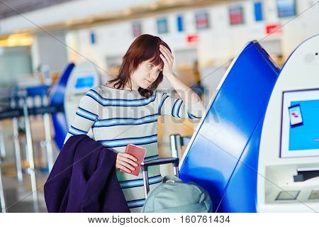 Passenger At The Airport, Doing Self Check-in