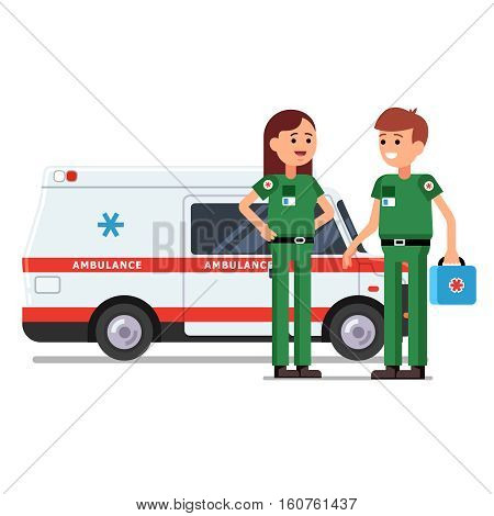 Two paramedics rescue team workers standing in front of ambulance car. Doctor holding first aid kit bag in hand. Flat style vector illustration. Isolated characters on white background.
