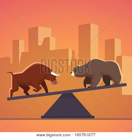 Stock market bulls and bears battle metaphor. Stock exchange trading business concept with city downtown sunset background. Modern fat style vector illustration.