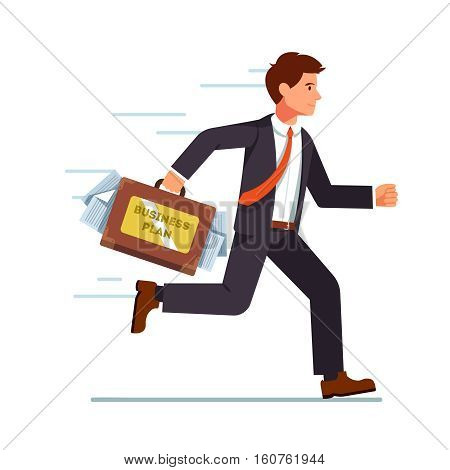 Businessman running with business plan in his suitcase. Hurrying fast with his ideas to an investor meeting. Flat style vector character illustration.