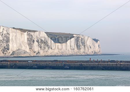 White cliffs of Dover from the harbour