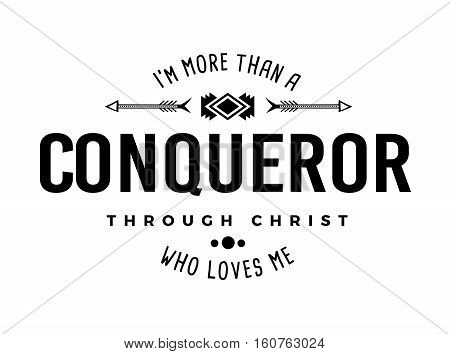 More than a Conqueror Christian Typography Art Emblem Design white