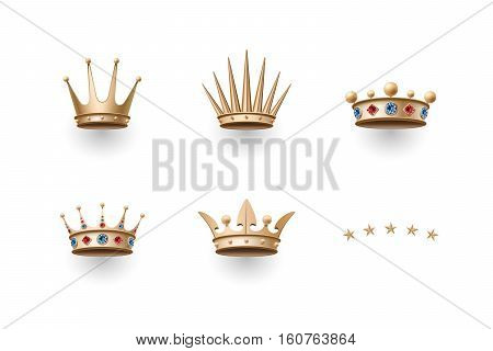 Set of royal gold crowns icons. Isolated luxury elements for branding, label, game, hotel, graphic design. Collection of crowns for royal persons, king, queen, princess. Vector Illustration
