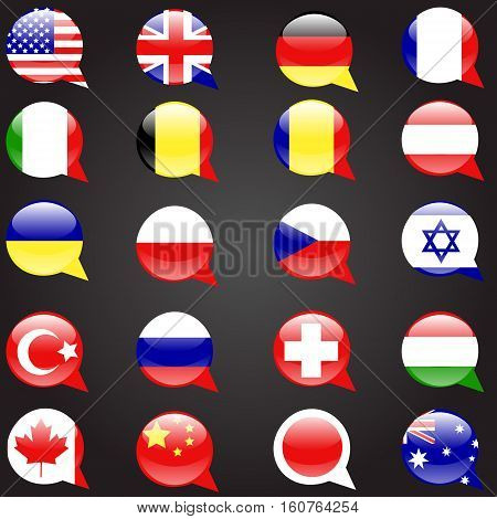 Twenty flags set languages speech bubble flag language button icon