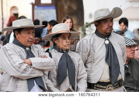 PURMAMARCA ARGENTINA - 27 January 2011: Gauchos on traditional festival in Purmamarca province Jujuy northen Argentina