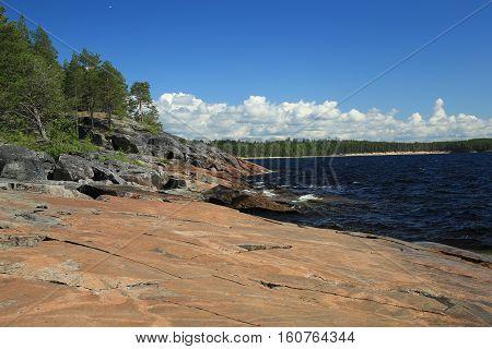 Russia, Karelia, the Onega plateau, petroglyphs, summer on lake Onego.