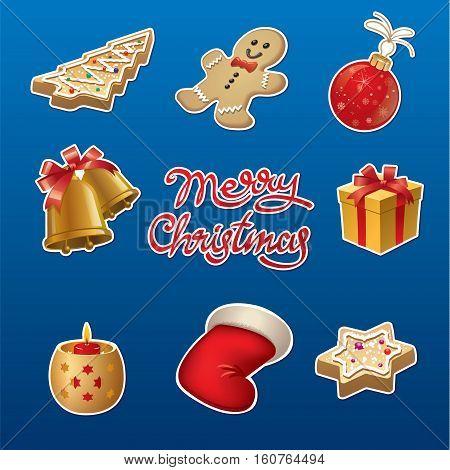 illustration of set christmas celebration stickers and badges