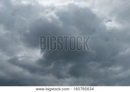 Dark storm clouds background. Rainy ominous grey storm clouds - dramatic sky