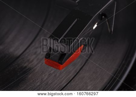 Turntable Head Over Vinyl Record