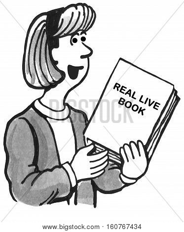 Black and white illustration of a female teacher holding a real, live book.
